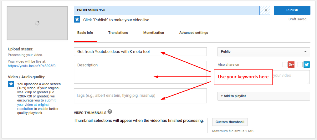 YouTube tags and description input